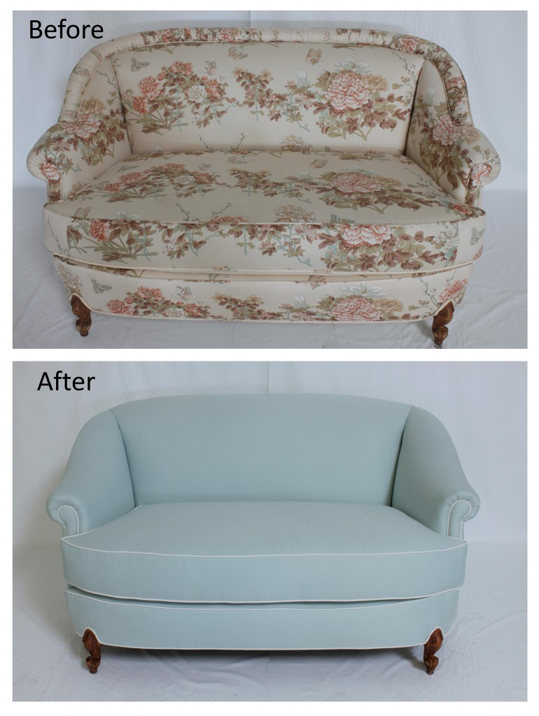Reupholstered Loveseat in Baby Blue Fabric with White Piping