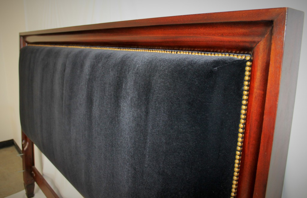 Reupholstered Headboard Wrapped in Mohair with Decorative Nail Heads