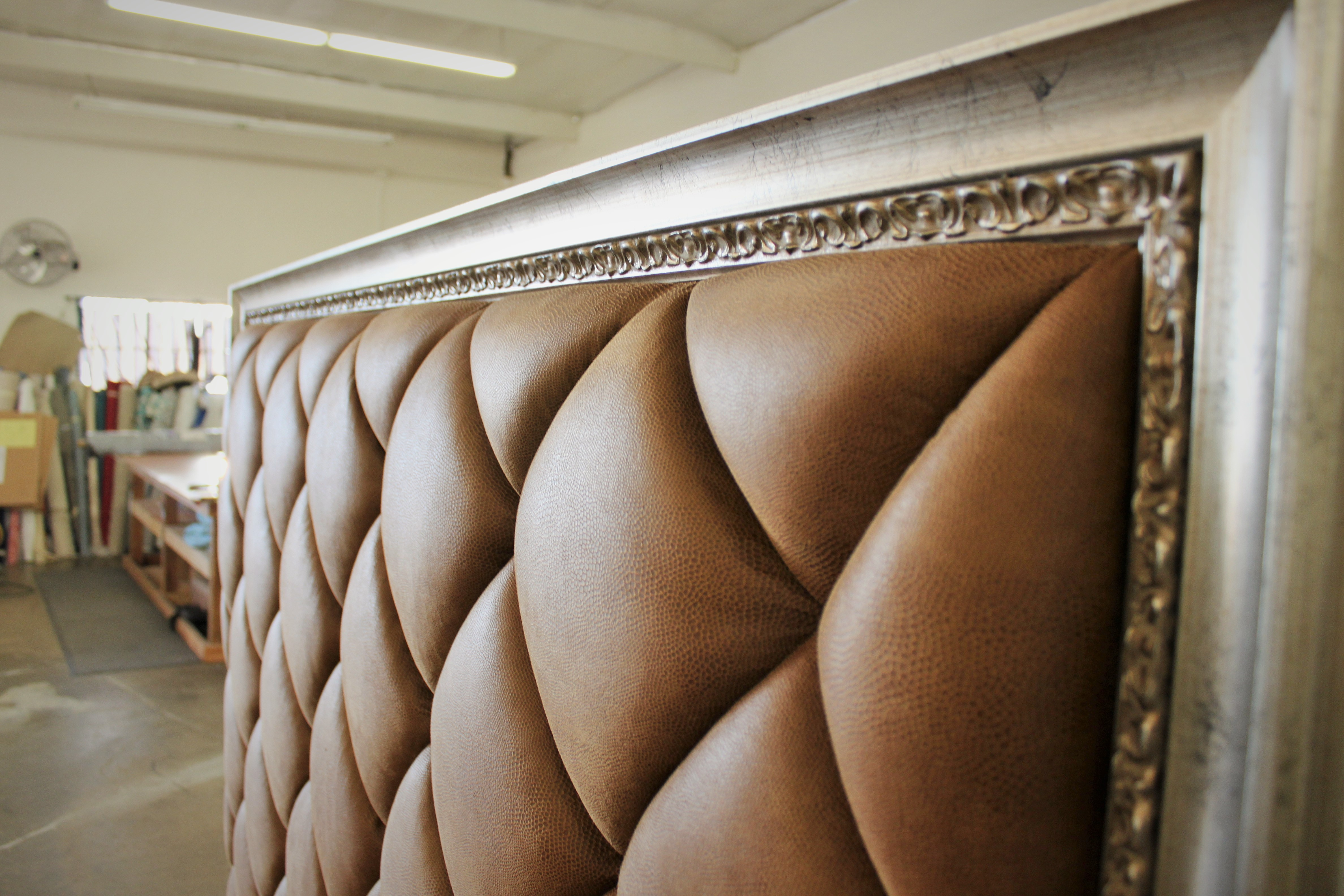 Headboard with Stitched Diamond  Quilting and Picture Frame Moulding