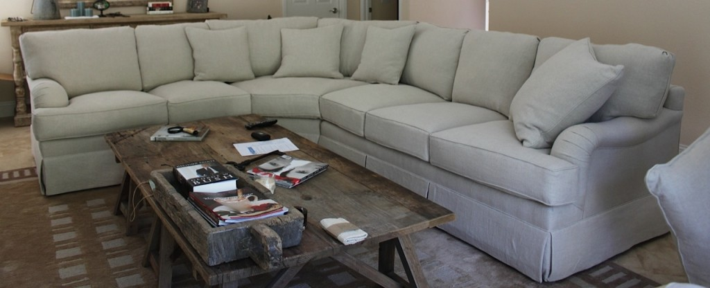 Reupholstered sectional sofa